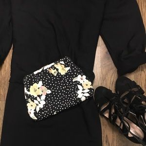 Floral and polka dot clutch